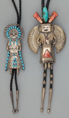 NAVAJO TURQUOISE AND SPINY BOLO TIES