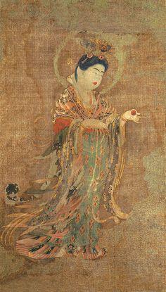 [奈良時代•薬師寺] Laksmi 吉祥天像 (H:53 cm) Colours on hemp, ca. 767-771