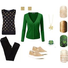 DON'T GET PINCHED! A cute casual outfit for St.Patrick's Day. Paired with Jamberry Nail wraps makes the outfit POP! Find them here: kendradinger.jamberrynails.net
