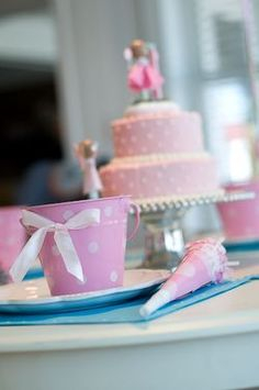 pink and white polka dot party ***little pales are cute favors for C's party!