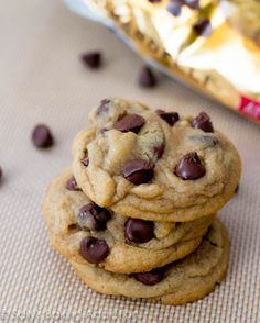 Soft-Baked Chocolate Chip Cookies, loved this recipe, it is a keeper. Love that it uses mostly brown sugar and had cornstarch as a secret ingredient to keep them soft!