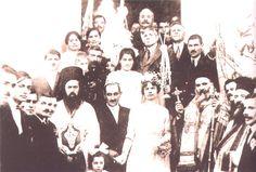 Ελληνικός γάμος στην Σμύρνη. Εικονίζεται (δεξιά από τους νεόνυμφους) ο Άγιος Χρυσόστομος Σμύρνης.