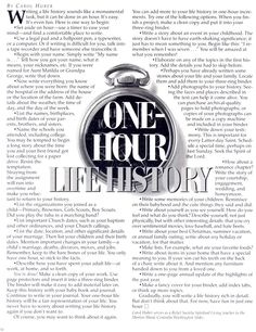 One-hour life history