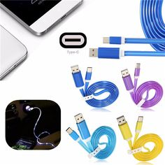 1M 3.3ft LED Light USB 3.1 Type C To USB 2.0 A Data Sync Charger Cable For Mobile Phone
