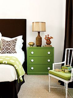 Love the color of the green dresser!