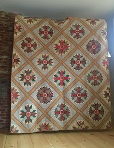 Antique Civil War Era 1800's Quilt Round Stars In Red Blue Excellent Condition in Antiques, Linens & Textiles (Pre-1930), Quilts, Completed Quilts   eBay