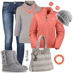 Gray & Coral Fall Winter Outfit, created by lindakol on Polyvore