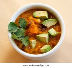 Mexican Spiced Butternut Squash Soup with Avocado and Cilantro