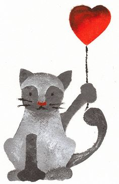 d-r-a-w-i-n-g-s-s: by legruccedisarap Balloon Illustration, Cute Illustration, Spirited Art, Cat Crafts, Cat Colors, White Cats, Cat Drawing, Beautiful Cats, Cat Love