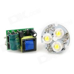 3W 120lm 6500K 1-LED White Light Module w/ Power Supply - Silver + Yellow + Green (AC 100~240V). Model GY-LZD-3*1W Material Plastic Color Silver + Yellow + Green Quantity 1 Total Emitters 1 Power 3 W Color BIN White Rate Voltage 100~240 V Luminous Flux 90~120 lm Color Temperature 6000~6500 K Application Home lighting Packing List 1 x LED module 1 x Power supply. Tags: #Lights #Lighting #Bulbs #and #Strips #LED #Bulb #Parts #Leds