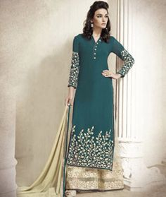 Buy Teal Georgette Palazzo Style Suit 78002 online at lowest price from huge collection of salwar kameez at Indianclothstore.com.