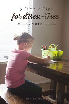 tips for a stress-free homework time after school - love the tip about keeping younger kids busy while you help the older kids!