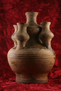 222-589 A.D. Chinese green-glazed pottery 5 spouted vase Yue kilns Six Dynasty, appraised up to 5000...- bidding starts at $1500, no reserve