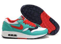 Nike Air Max 1 Damen Schuhe Grün/Rot/Schwarz/Weiß