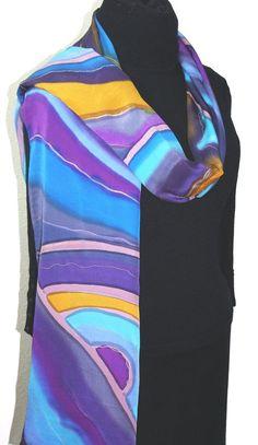 Sciarpa in seta dipinta a mano viola. Blu di SilkScarvesColorado