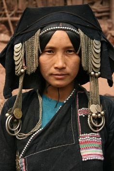 Laos | Akha hill tribe, lady with traditional headdress | ©Tony ~ Contemporary Nomand