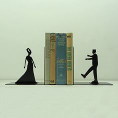 Frankenstein and Bride Metal Art Bookends  by KnobCreekMetalArts