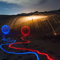 Steelwool & LED in one shot... Collaboration with Michael Sutton who is on LED's  15 days to go  love.lightpaint.photography  #lightpainting #photography