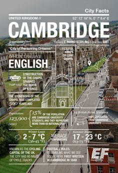 The city of cycling geniuses: Cambridge infographic ‹ GO Blog   EF GO Blog Places Around The World, Travel Around The World, Around The Worlds, Cool Places To Visit, Places To Travel, Travel Destinations, Album Photo, Wanderlust Travel, Travel Quotes