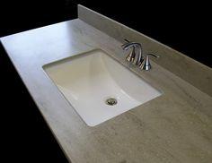 Bathroom vanity top in Corian Granola, found on NANTUCKET Vanity ...