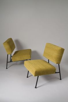 Pierre Guariche; Enameled Iron Lounge Chairs for Airborne, c1960.