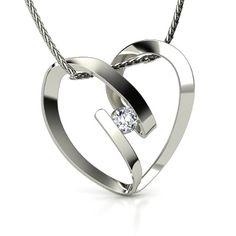 14K White Gold Necklace with Diamond   Capture My Heart Pendant   Gemvara