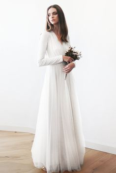 Ivory maxi tulle gown with long sleeves , Wedding maxi tulle gown 1066