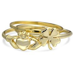 Bling Jewelry Silver Irish Clover Claddagh Stackable Midi Ring Set Gold Plated