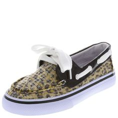 This A.N.T. Farm gally shoe features a sequined upper, classic boat styling and laces for good fit, canvas lining, padded footbed, and a non-marking outsole. Manmade materials.