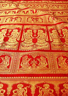 From Bengal, the Baluchari saree has been given the status of a geographical marker by the Government of India. Mostly prepared in the district of Murshidabad, this saree is iconic due to its intricate depictions of mythological and historical scenes on the pallu. Read more on this blog from Indianroots.com