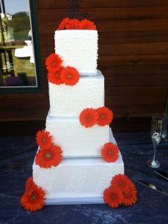 daisy wedding cakes | Orange Daisy Wedding Cake
