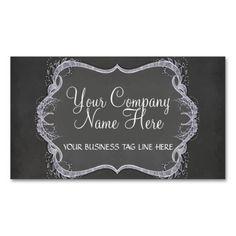 Chalkboard Typographic Leaf Swirl Modern Business Business Cards
