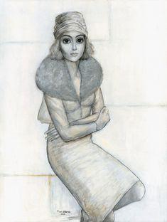 woman in fur coat – Keane Eyes Gallery gallery woman coat - Woman Coats Black Haircut Styles, Haircut Styles For Women, Keane Big Eyes, Camping Hair, Red Hair Woman, White Bridesmaid Dresses, Shirt Hair, Sea Glass Art, Woman Drawing