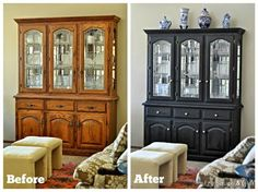 China Hutch Makeover With Miss Mustard Seed Milk Paint. Over the summer I'm going to try using Milk paint on my hutch to freshen it up since I don't like how it looks anymore. China Cabinet Redo, Painted China Cabinets, Painted Hutch, China Cabinet Makeovers, Repurposed China Cabinet, Dresser Makeovers, Refurbished Furniture, Shabby Chic Furniture, Furniture Makeover