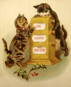 Kittens with Slot Machine Vintage New Year Postcard Vintage Happy New Year, Happy New Year Cards, New Year Greeting Cards, New Year Greetings, Vintage Greeting Cards, Vintage Christmas Cards, Retro Christmas, Vintage Holiday, Christmas Cats