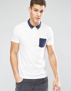 Esprit+Jersey+Polo+Shirt+with+Polka+Dot+Trim