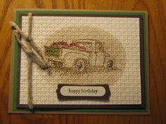 4 Countryside Truck Card Kit Fall Apples Vintage Stampin Up Handmade Cards | eBay
