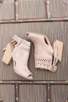 With A Hint Of Fringe Suede Peep Toe Booties (Cream) - NanaMacs.com - 1