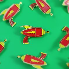 Astro Blasters Shoot Pew Pew! Limited Edition Lapel Pin, Only 50 Made. Inspired by retro style ray-guns, designed by Jarod Octon. #enamelpins #lapelpins
