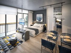 Small Studio Apartment Layout Design Ideas - home design Apartment Room, Small Apartments, Studio Apartment Decorating, Apartment Design, Studio Apartment Design, Small Apartment Interior, Apartment Interior Design, Modern Apartment Decor, Apartment Interior