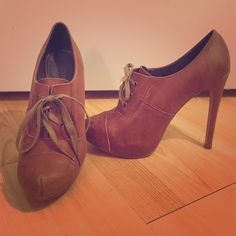 """Tan heeled ankle booties Tan heeled ankle boogies great for a casual outfit with jeans or for work. Only worn to work a few times, in good condition. 5"""" heel with 1"""" platform. Restricted Shoes Ankle Boots & Booties"""