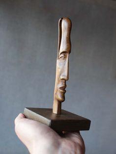 Head II -ooak hand carved wood statue, modern wood sculpture.