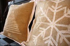 Painted Burlap...these are very cute Christmas pillows but, you could paint anything on them you like!