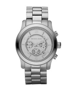 Silver Oversized Runway Watch by Michael Kors at Neiman Marcus.