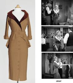 Marilyn's brown suit from Love Nest, 1951. Different lapels have been inserted.