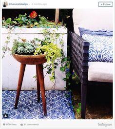 Create a modern planter using a serving bowl.  (Home Decor on a Budget)