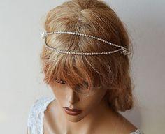Rhinestone Bridal Forehead band Wedding Hair by ADbrdal on Etsy