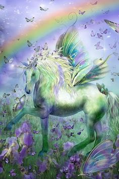 Unicorn - Pegasus, butterflies and a rainbow - 4 of my favorite things