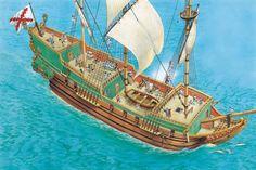 Galeón español durante el siglo XVII, cortesía de Peter Dennis. Más en www.elgrancapitan.org/foro
