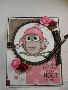 Sweet Beanie Whoot card by Tracy Gray